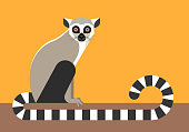 Set of black and white lemurs on green background. Vector illustration.