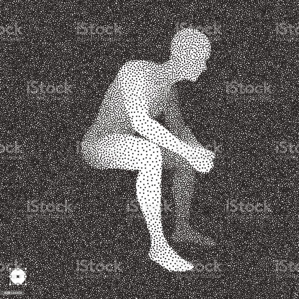 Sitting man. 3D Model of Man. Black and white grainy dotwork design. Stippled vector illustration. vector art illustration