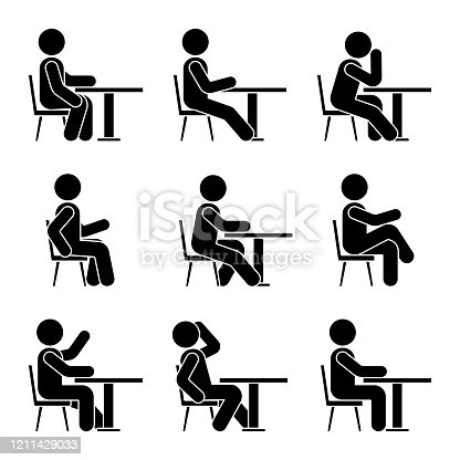 Sitting on chair at desk stick figure man side view poses pictogram vector icon set. Boy silhouette seated happy, comfy, sad, tired sign on white background