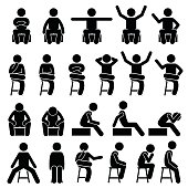 Stickman person posing in various sitting on a chair postures.
