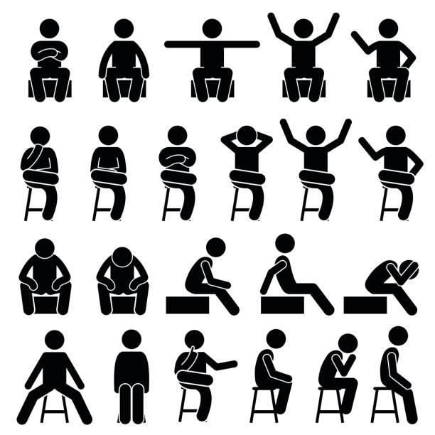 auf stuhl sitzend stellt haltungen menschlichen strichmännchen piktogramm - gestikulieren stock-grafiken, -clipart, -cartoons und -symbole