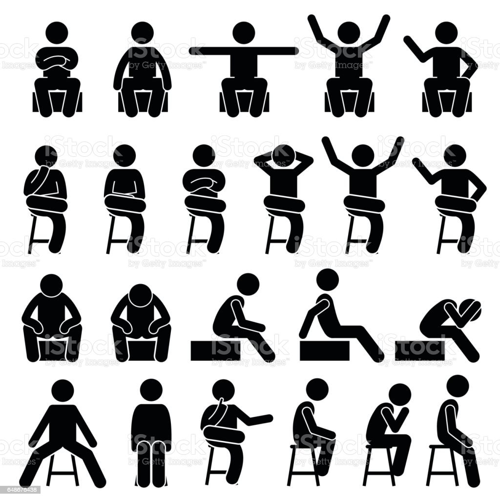 Sitting on Chair Poses Postures Human Stick Figure Pictogram vector art illustration