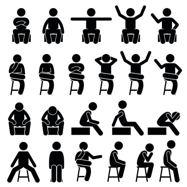 ilustrações de stock, clip art, desenhos animados e ícones de sitting on chair poses postures human stick figure pictogram - chair