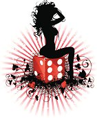 Vector illustration of a sexy girl's silhouette sitting on dice with grunge background. Girl, dice and background are on separate layers. Large JPEG included.