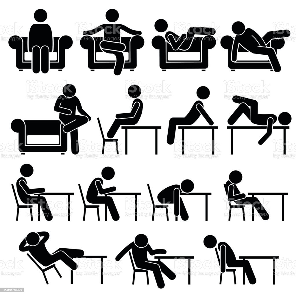 Sitting on Sofa Couch Working Chair Lounge Table Poses Postures Human Pictogram vector art illustration