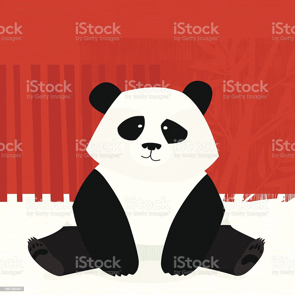 Sitting panda vector art illustration