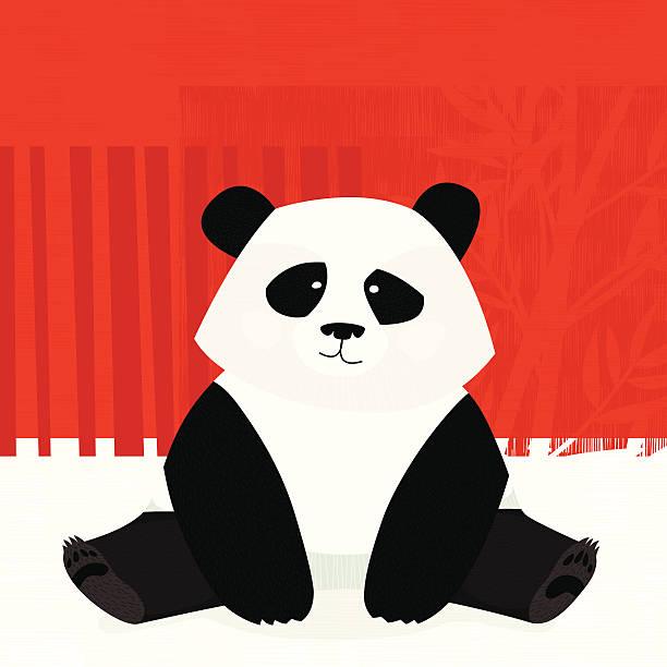 Sitting panda vector art illustration