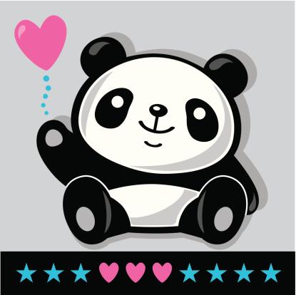 Sitting Panda with heart