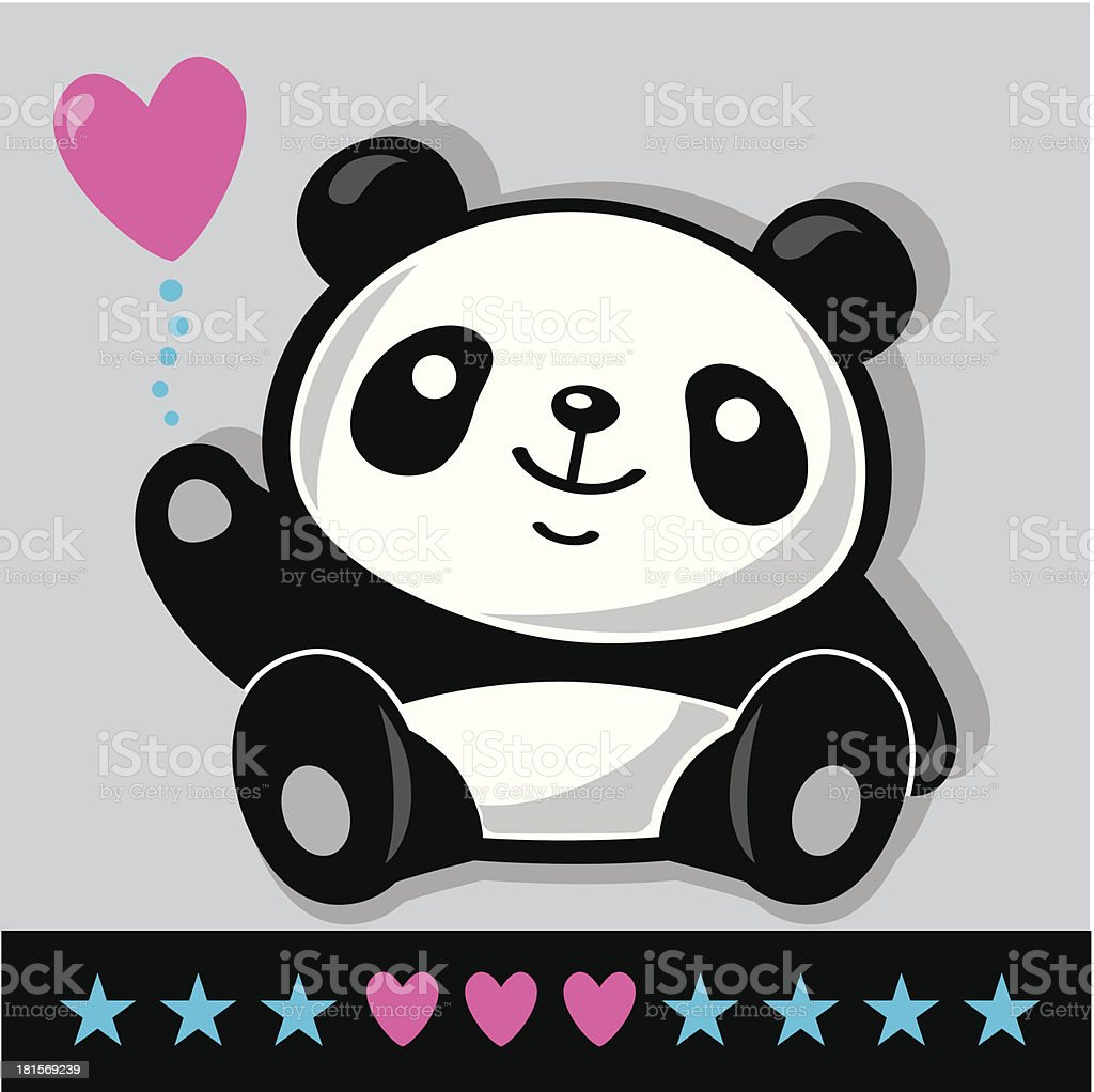 Sitting Panda with heart vector art illustration
