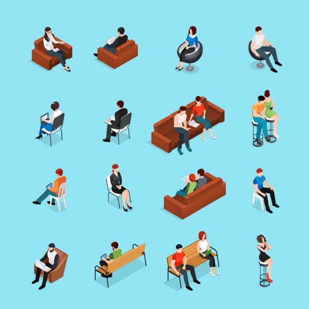 Sitzende Personen isometrischen Satz – Vektorgrafik
