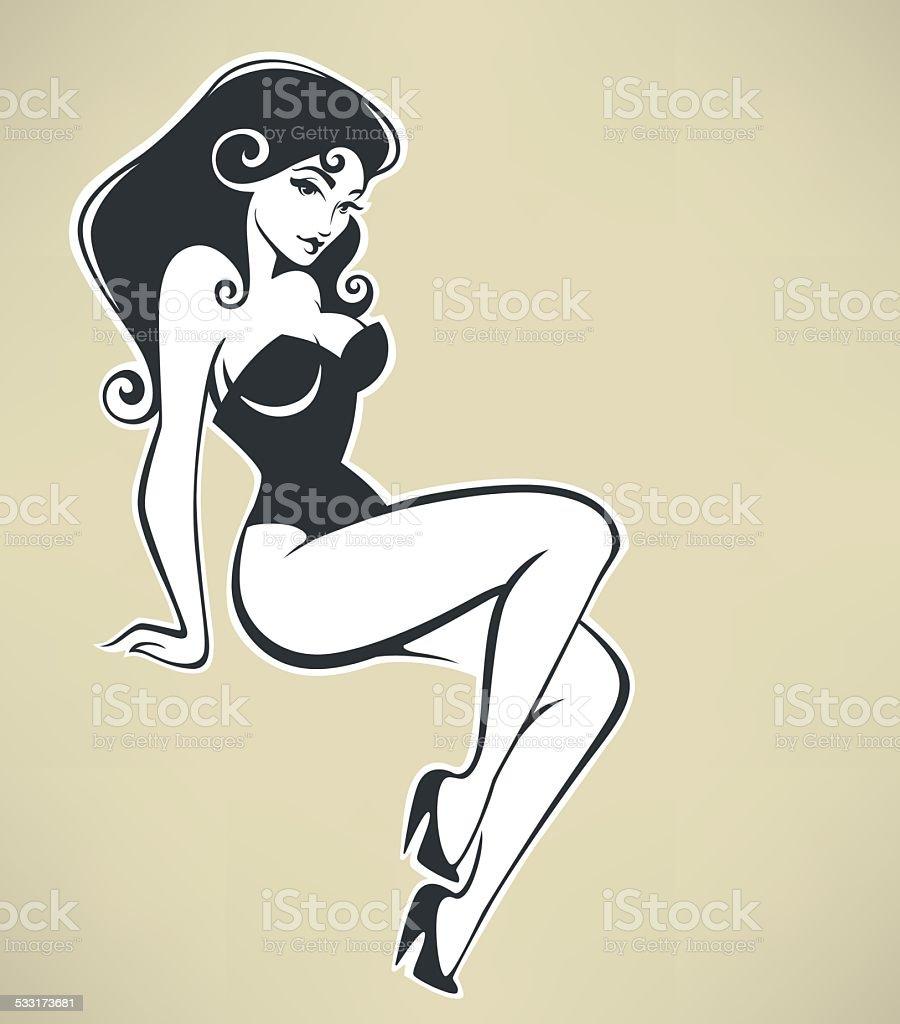 sitting pinup girl on beige background vector art illustration