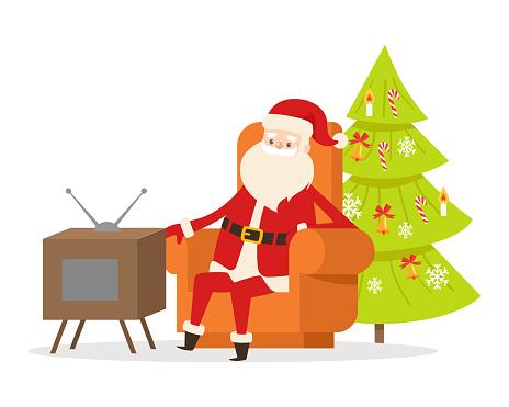 Sitting Santa Claus in Orange Armchair near TV Set