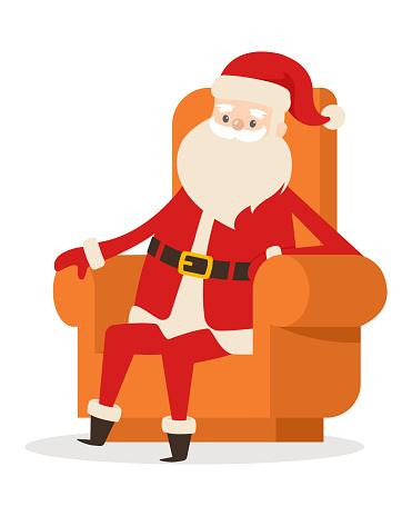 Sitting Santa in Armchair on White Background