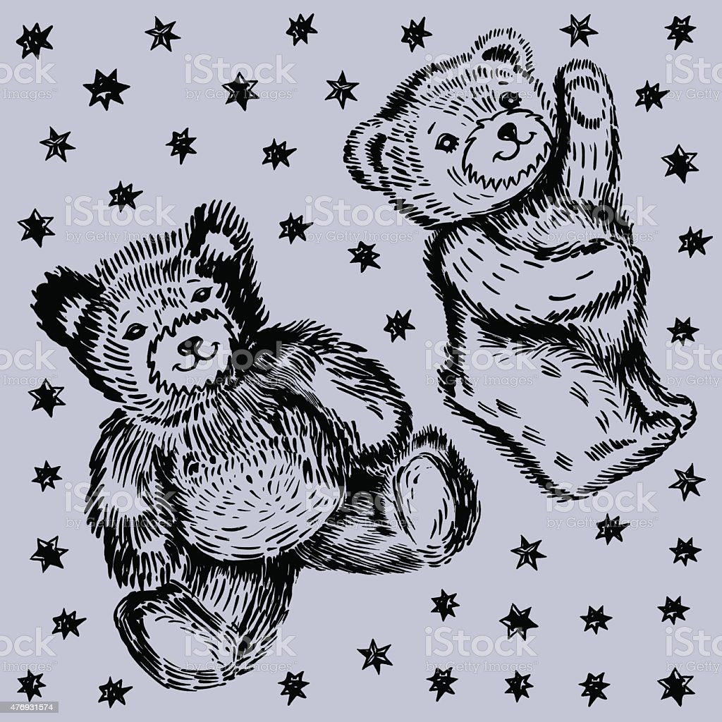Sitting  & standing couple bears pattern vektör sanat illüstrasyonu