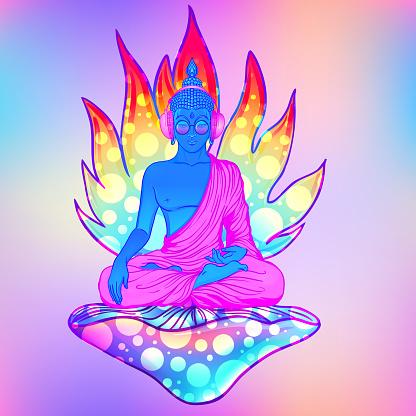 Sitting Trippy Buddha. Vector illustration.