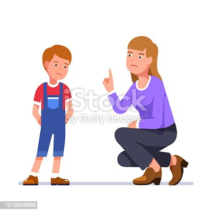 Angry mother wags finger at guilty son. Sitting upset woman scold standing boy for misbehaving. Teacher berate unhappy schoolboy. Upset mom reprimand sad kid. Flat vector character illustration