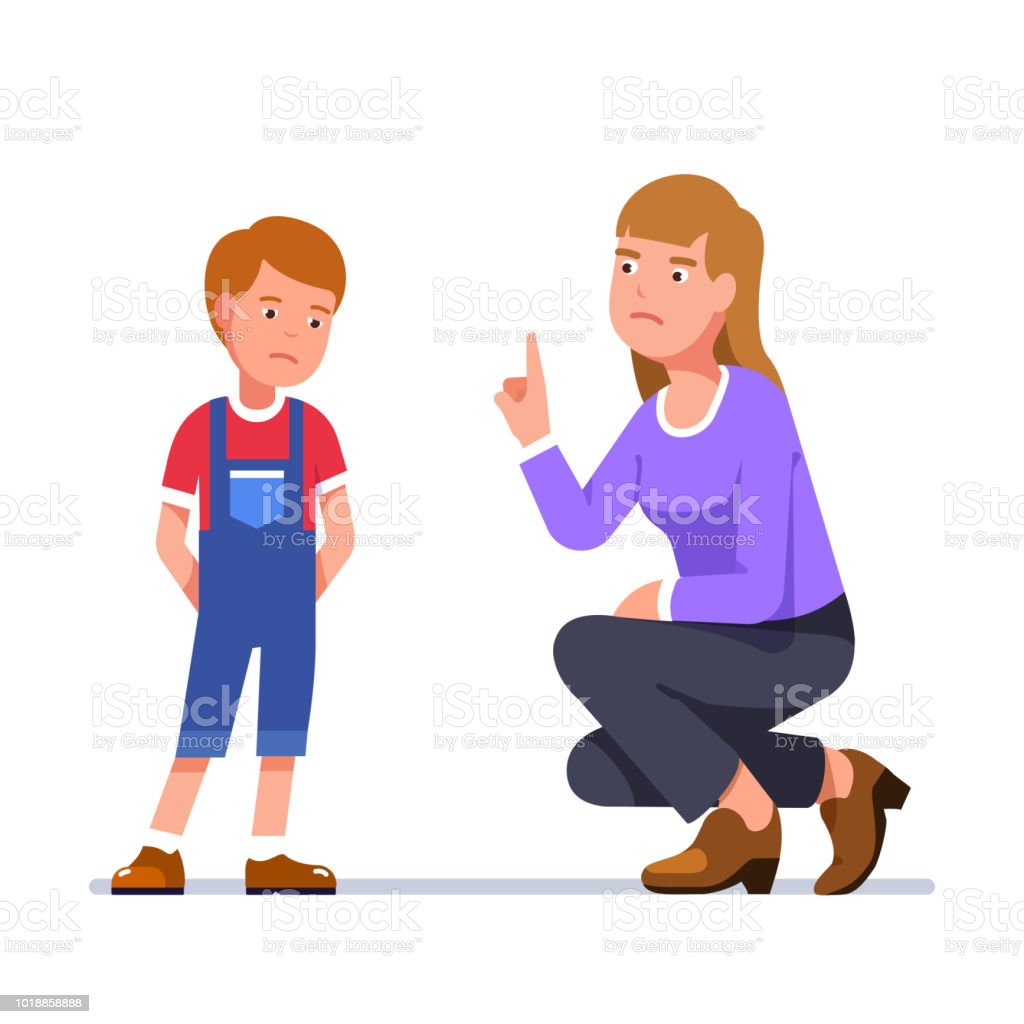 Sitting upset mother scold standing unhappy son for misbehaving. Teacher berate schoolboy. Flat isolated vector vector art illustration