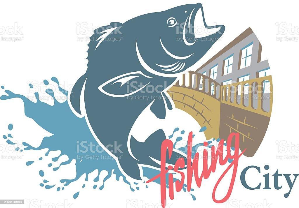 sity fishing vector art illustration
