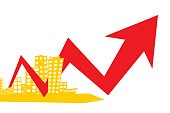 Simple two-tone illustration with a stylized city and a graph with an arrow tending upwards on a black background. Demonstration of progress in the development of the city and increase in income