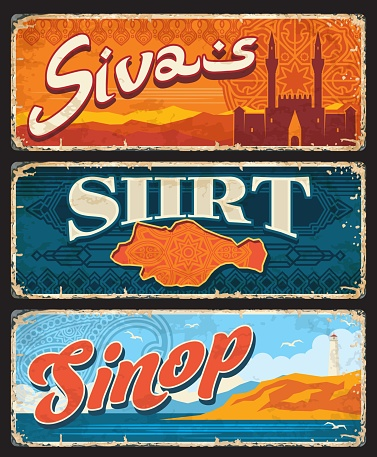 Sivas, Siirt, Sinop Turkey provinces plates