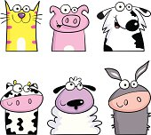 Cat, pig, dog, cow, sheep and donkey.