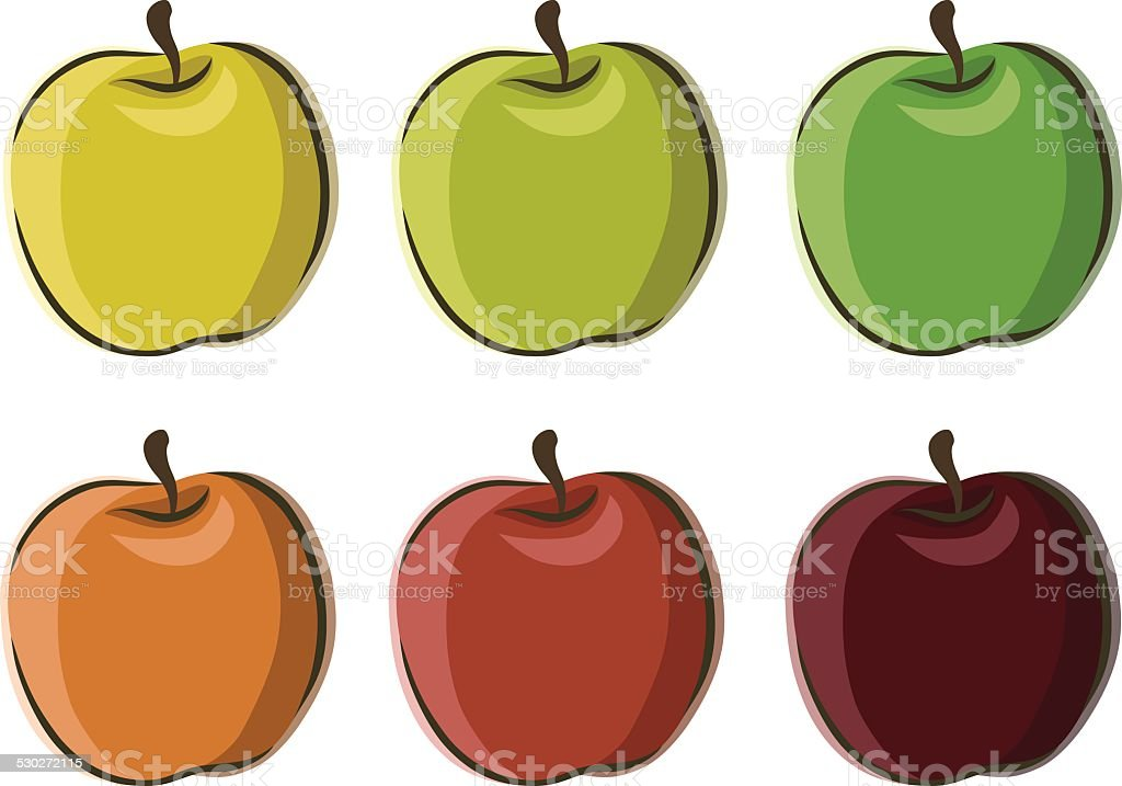 Six Apples Set Vector In Different Colors Stock ...