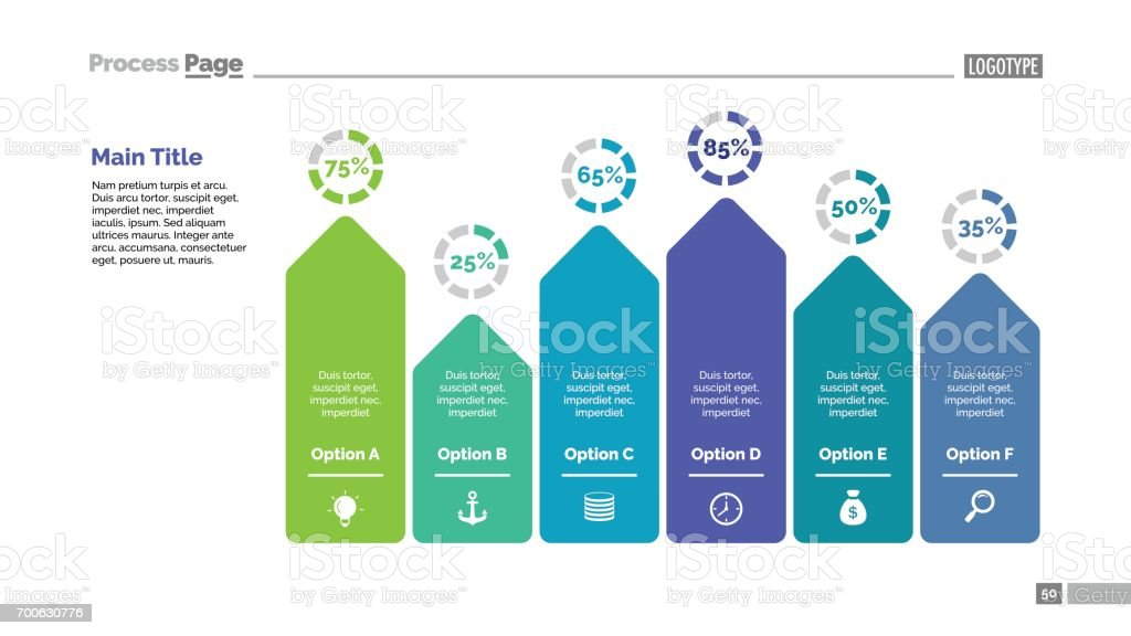 Six Arrows Bar Chart Slide Template vector art illustration