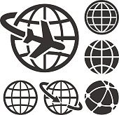 Six assorted black and white globe icons