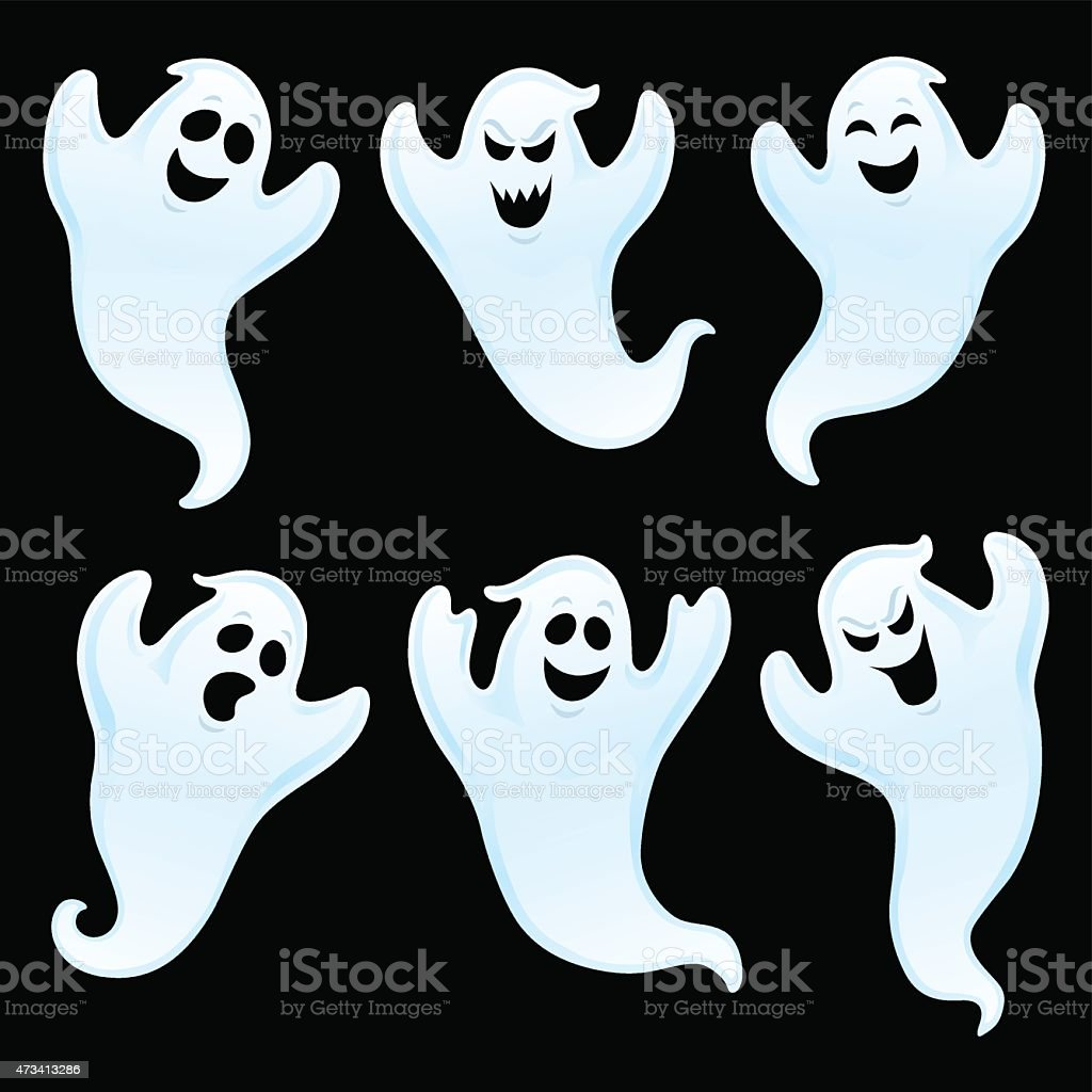 Six Assorted Ghost Characters vector art illustration