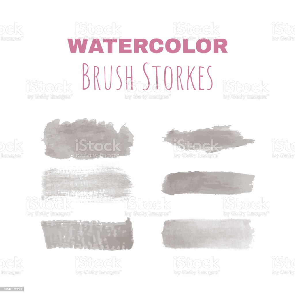 Six authentic vector watercolor brush strokes - Royalty-free Art stock vector