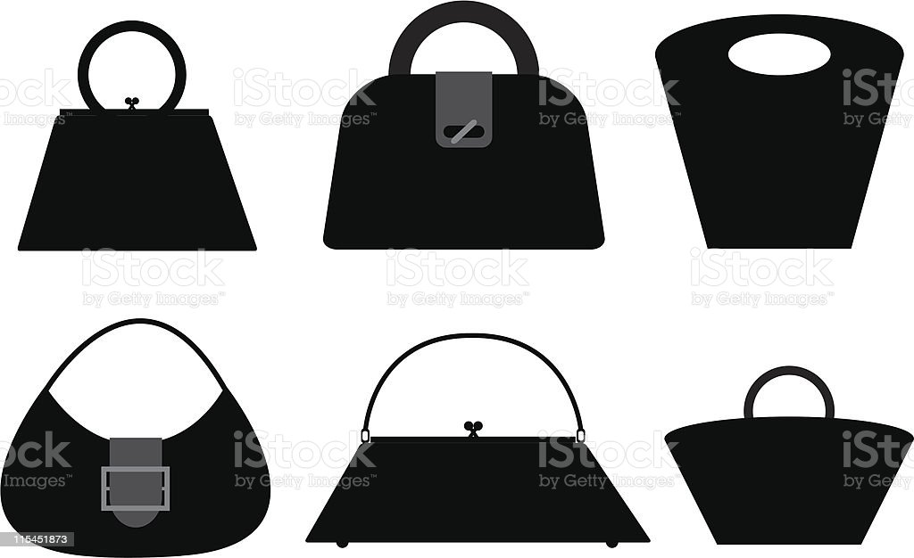 Six Bag Silhouettes royalty-free stock vector art
