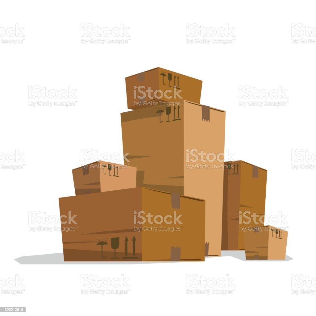 Six Grandes Et Petites Lumière Bruns Boîtes En Carton