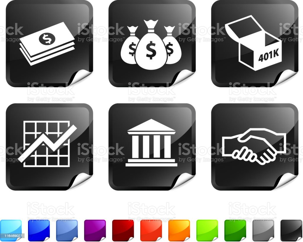 six black and white stickers. vector art illustration
