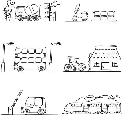 Six black and white transportation scenarios