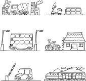 Transportation in sketch style, black and white