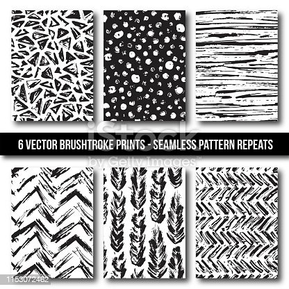 Six Complimentary Brushstroke, Paintbrush, Hand Drawn Files in Seamless Pattern Repeat. Includes Stripes, Chevron, Dot, Triangle, and Feather Prints.