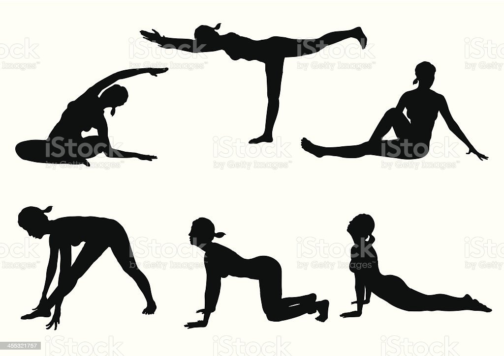 Six black silhouettes of women doing yoga poses royalty-free stock vector art