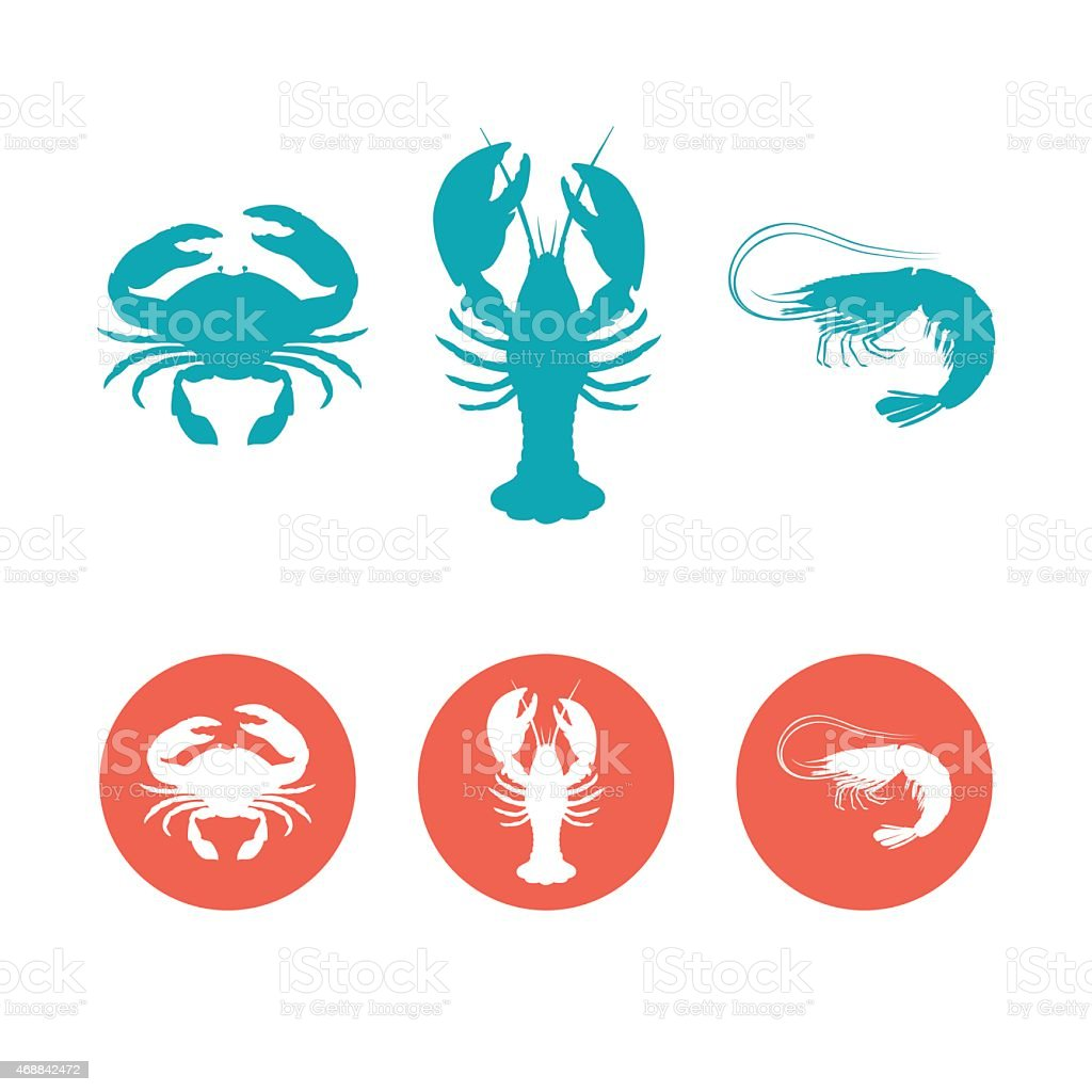 Six blue and red seafood symbols on a white background vector art illustration