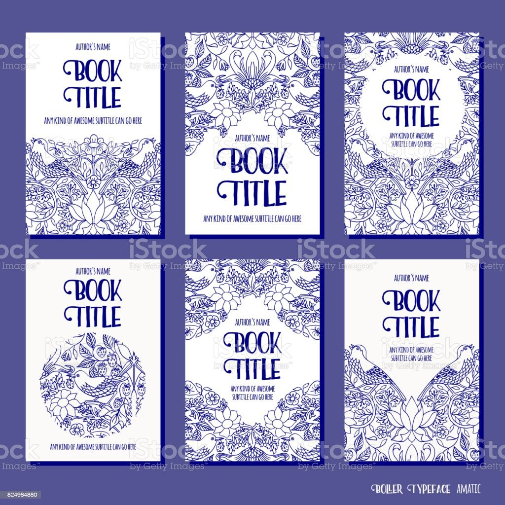 Six book cover templates vector art illustration