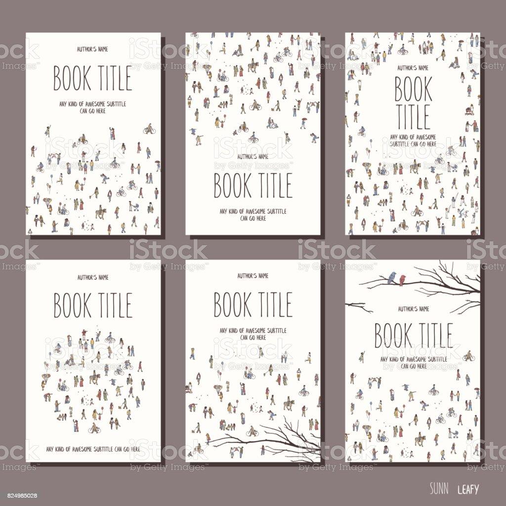 Six book cover templates vector art illustration