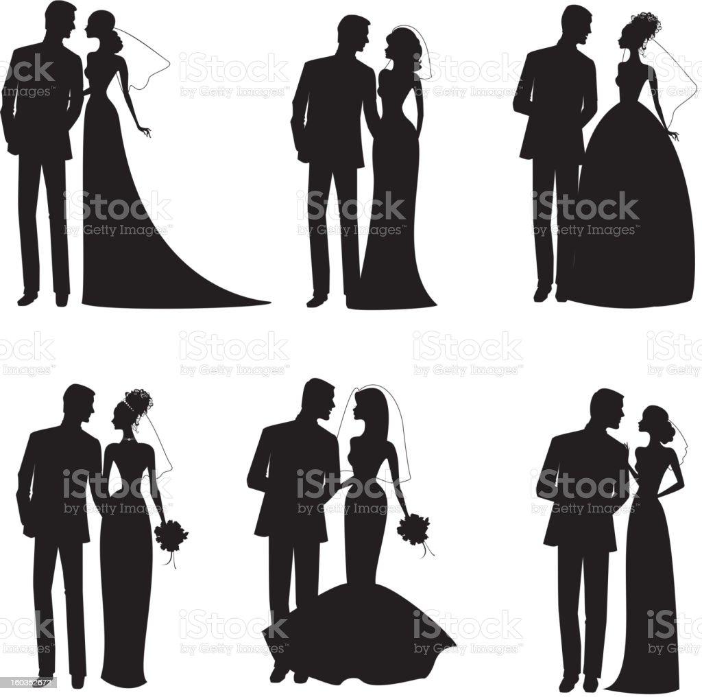 6 つの新郎新婦にはブラックとホワイトのシルエット のイラスト素材