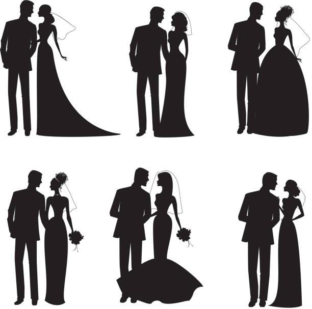 sechs hochzeitspaare in silhouette in schwarz und weiß - rosenhochzeitskleider stock-grafiken, -clipart, -cartoons und -symbole