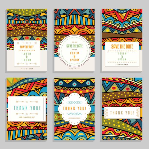 stockillustraties, clipart, cartoons en iconen met zes heldere kaarten met etnische ornamenten. - batik