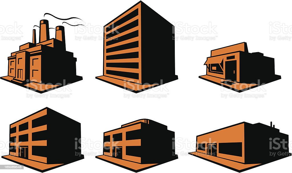 Six Buildings vector art illustration