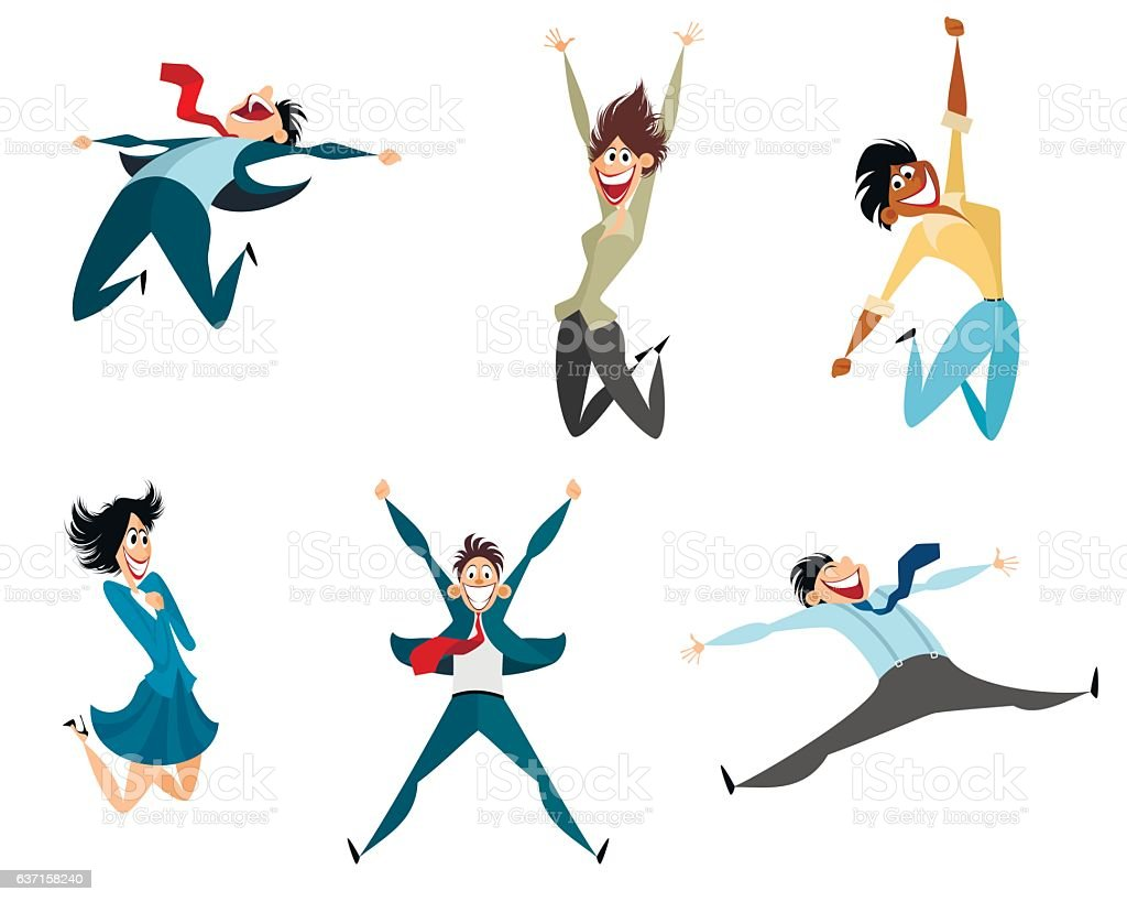 Six businessmen jumping vector art illustration