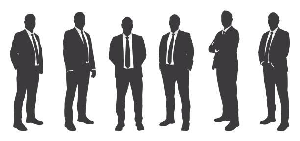 ilustrações, clipart, desenhos animados e ícones de seis homens de negócios sihouettes - business man