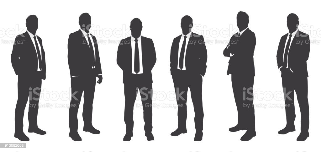 Six Businessmen Sihouettes vector art illustration