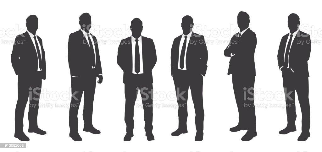 Seis homens de negócios Sihouettes - ilustração de arte em vetor