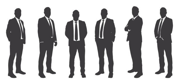 illustrazioni stock, clip art, cartoni animati e icone di tendenza di six businessmen sihouettes - business man