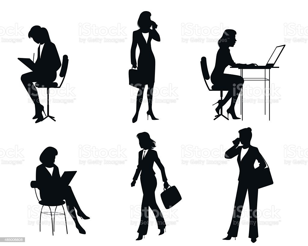 Six businesswomen silhouettes vector art illustration